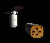 Simulated rendering showing Seeker Robot flying in space around spacecraft