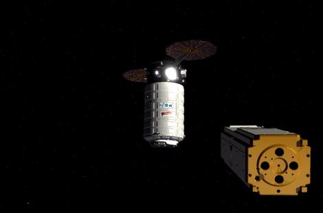 Seeker inspecting the Cygnus cargo spacecraft